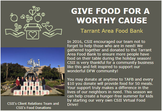 CSII Supports Tarrant Area Food Bank